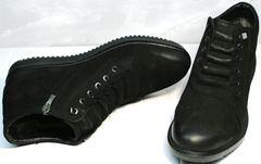 Кожаные полуботинки зимние мужские Luciano Bellini 71783 Black.
