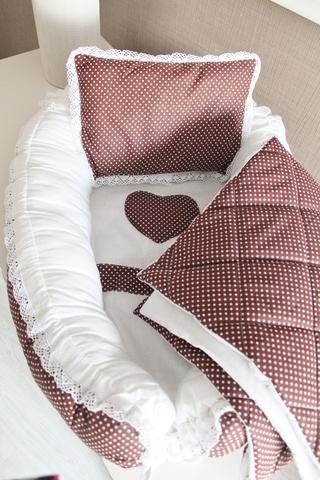 Babynest Комплект кокон + подушечка декоративная + одеяльце Горошинка