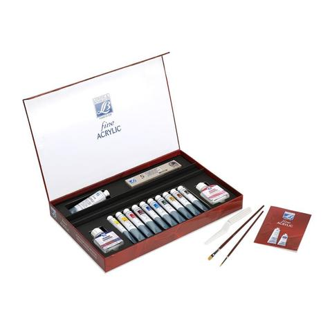 Набор акриловых красок Lefranc&Bourgeois FINE Discovery (10х20 мл, белила 1х60 мл, лак 2х75 мл)