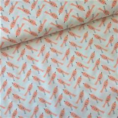 Ткань хлопковая птички оранжевые