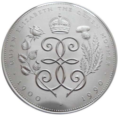 5 фунтов. Королева Мать. 90 лет со дня рождения. 1990 год. Великобритания