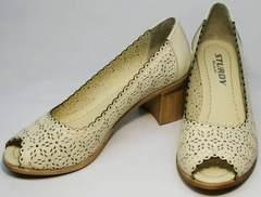 Туфли с открытым носом на толстом каблуке летние женские Sturdy Shoes 87-43 24 Lighte Beige.