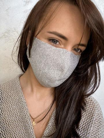 Женская гигиеническая трикотажная маска серебряного цвета - фото 2