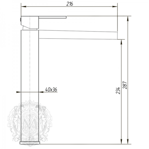 Смеситель для раковины высокий с каскадным изливом Migliore Kvant ML.KVT-2718 схема