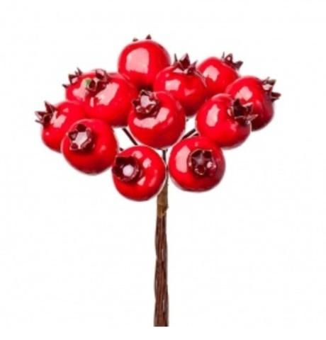 Набор ягод на вставках 12шт., размер: D2x2,5xL11см, цвет: красный