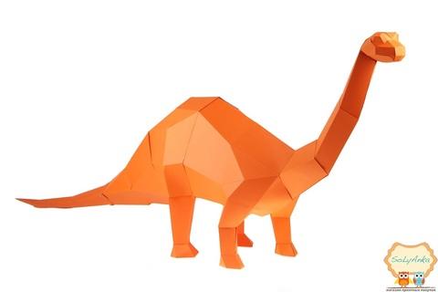 Конструктор. Бронтозавр. Papercraft. 3D фігура з паперу та картону.