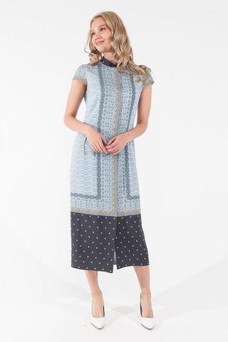 Фото голубое свободное платье с геометрическим принтом и коротким рукавом - Платье З458-136 (1)