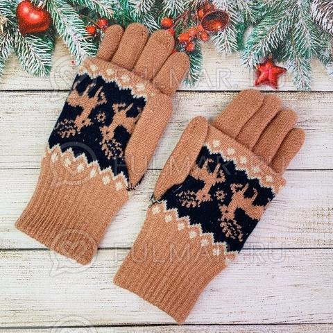 Перчатки для девочки с митёнками сенсорные два пальца Олени Персиковые