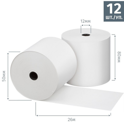 Чековая лента из термобумаги Promega jet 80 мм (диаметр 50 мм, намотка 26 м, втулка 12 мм, 12 штук в упаковке)