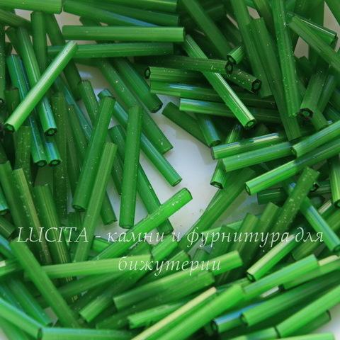 55041 Бисер Preciosa стеклярус 20 мм, шестиугольный зеленый сатин