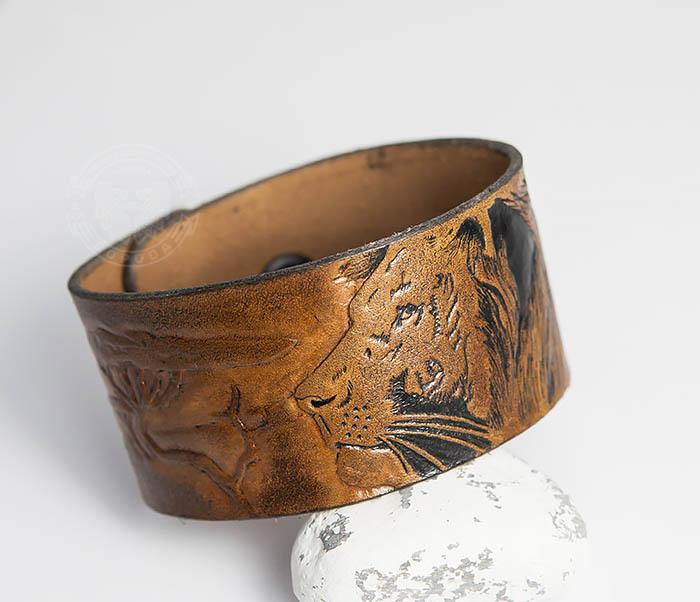 BL462 Мужской кожаный браслет со львом ручной работы
