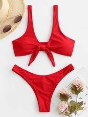 Купальник красный раздельный с узлом на груди Knot Red 4