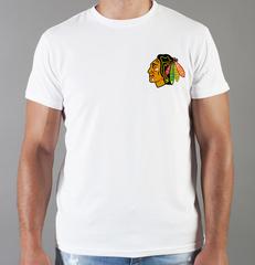 Футболка с принтом НХЛ Чикаго Блэкхокс (NHL Chicago Blackhawks) белая 0018