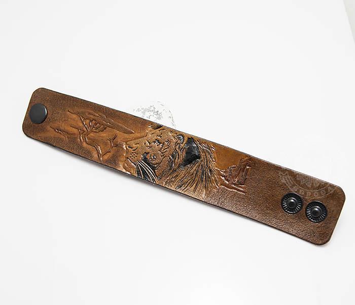 BL462 Мужской кожаный браслет со львом ручной работы фото 02
