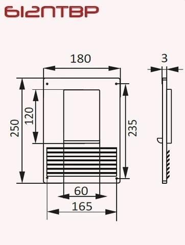 Площадка торцевая с фланцем и решеткой 120х60 вертикальная