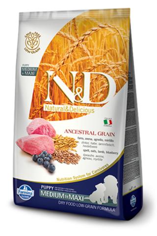 Сухой низкозерновой корм Farmina N&D Low Grain Lamb&Blueberry Puppy Medium&Maxi