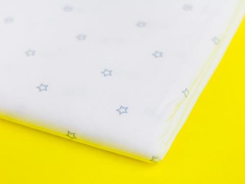 Тканина трикотаж ляльковий Let's make Відріз 45*50 см - Сірі зірочки на білому322273038