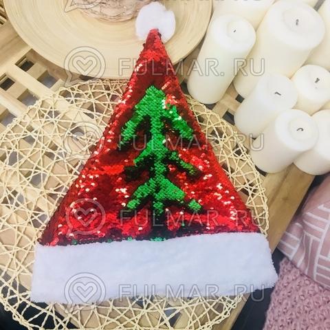 Новогодний колпак-шапка с пайетками меняет цвет Красный-Зелёный