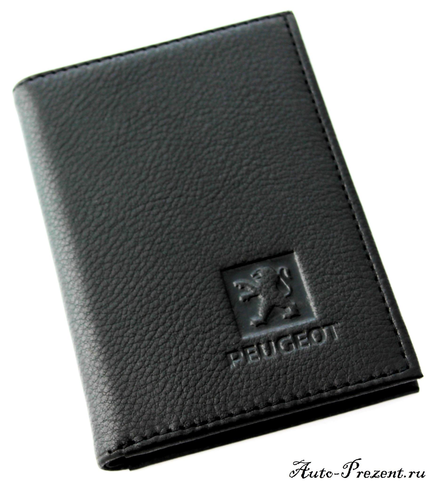 Портмоне для автодокументов из натуральной кожи с логотипом PEUGEOT