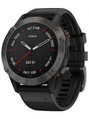 Мультиспортивные часы Garmin Fenix 6 Sapphire - серый DLC с черным ремешком  010-02158-11