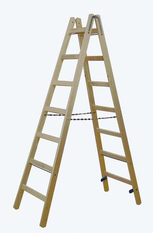 STABILO Двусторонняя лестница из дерева, с перекладинами, 2 х 7 перекладин