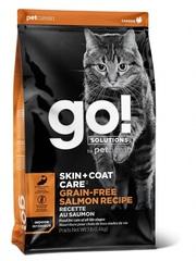 Корм беззерновой для котят и кошек, GO! Solutions Cats Skin+Coat Care Grain-Free Salmon Recipe Indoor, с лососем