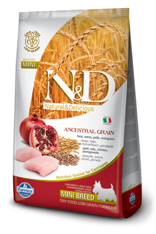Сухой низкозерновой корм Farmina N&D Low Grain Chicken&Pomegranate Adult Dog Mini
