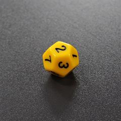Желтый двенадцатигранный кубик (d12) для ролевых и настольных игр
