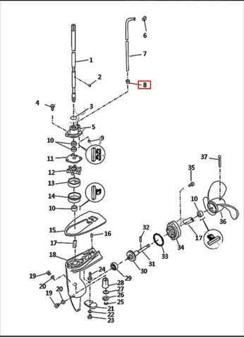Сальник трубки охлаждения  для лодочного мотора T2,5 SEA-PRO (8-8)