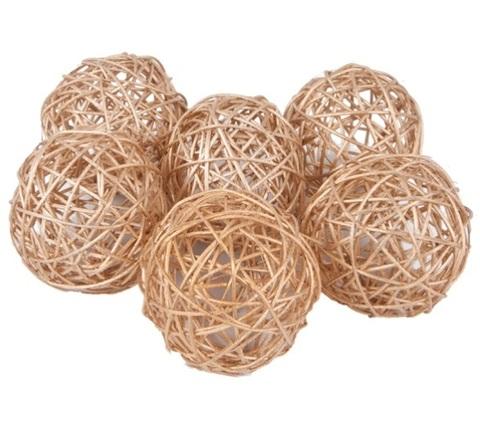 Плетеные шары из ротанга (набор:6 шт., d10см, цвет: золото)