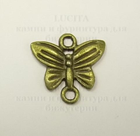 """Коннектор """"Бабочка"""" (1-1) 14х13 мм (цвет - античная бронза) ()"""