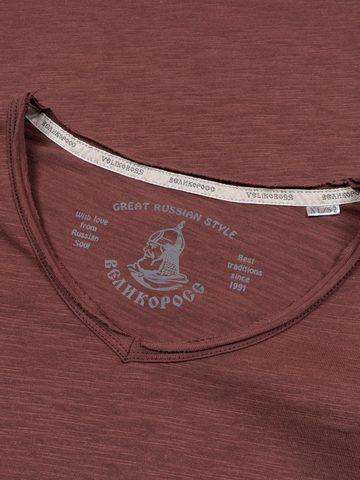 Long-sleeved V-neck burgundy t-shirt