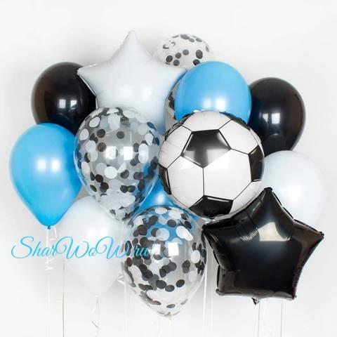 Сет воздушных шаров Футбольный в бело-голубой гамме