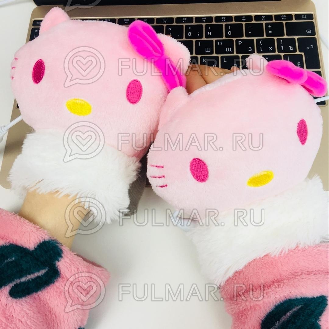 Грелки для рук USB перчатки с подогревом Кошка фото