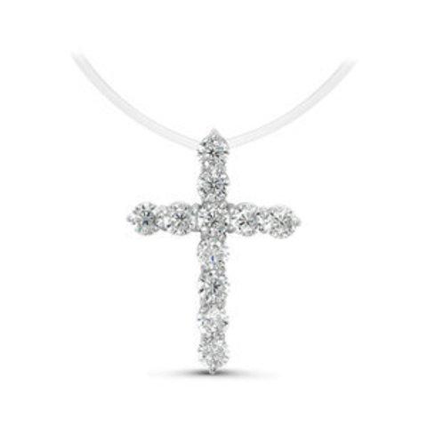 Крест с цирконами на леске-невидимке с серебряными замочками