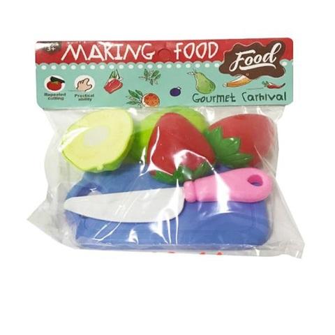 Набор фруктов на липучке с разделочной доской в пак., 1кор*1бл*6шт