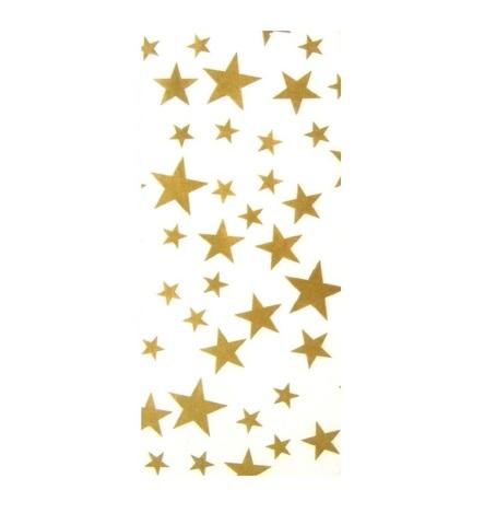Бумага тишью Звездочки, 10 шт., размер: 50x66 см, цвет:золотой