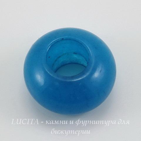 Бусина Жадеит (тониров), рондель, цвет - синий, 14х8 мм