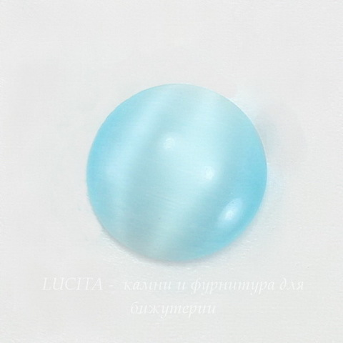 Кабошон круглый Кошачий глаз голубой, 14 мм ()