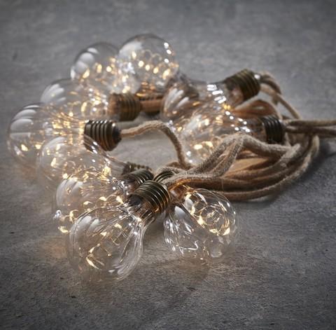 Гирлянда ретро на бечевке с рефлеными лампочками Luca Lighting теплый белый свет (10 ламп, длина гирлянды 315 см)