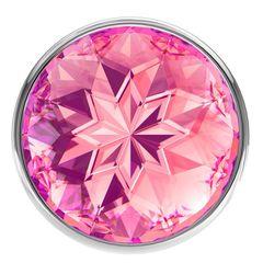 Большая серебристая анальная пробка Diamond Pink Sparkle Large с розовым кристаллом - 8 см.