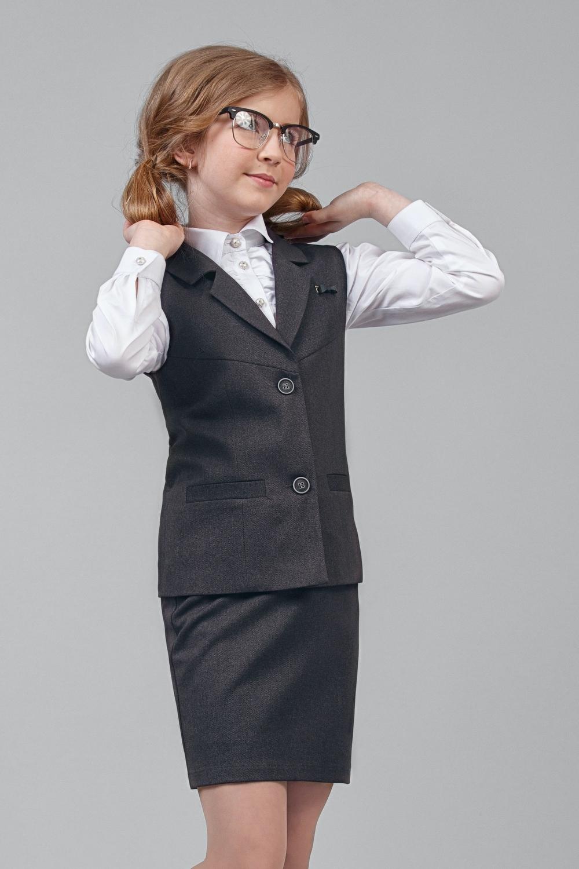 Жилет темно-серый для девочки 34-8002-3