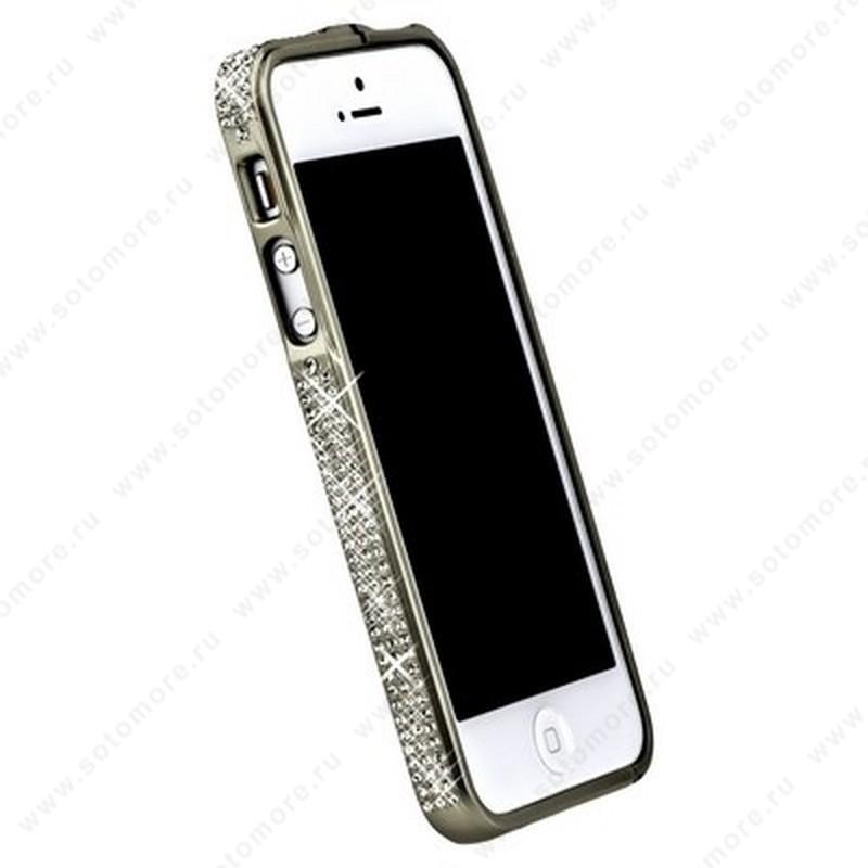 Бампер металлический для iPhone SE/ 5s/ 5C/ 5 серебряный со стразами