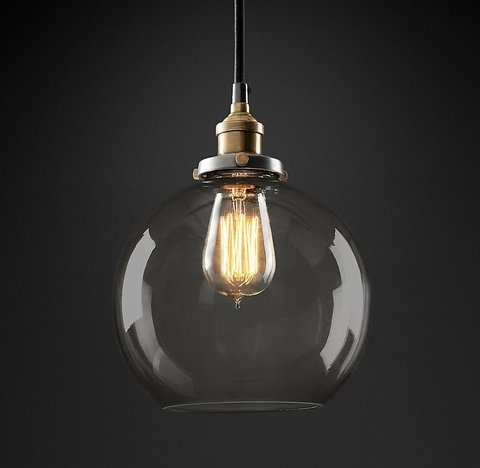 Подвесной светильник копия 20th C. Factory Filament Smoke Glass Caf? Pendant by Restoration Hardware
