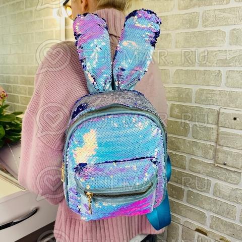 Рюкзак с ушами зайца в пайетках меняет цвет Перламутровый хамелеон-Фиолетовый