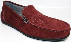 Летние мужские мокасины из натуральной кожи IKOC 1555-3 Red.