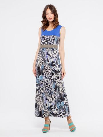 Фото длинное трикотажное платье на бретелях с контрастными вставками - Платье З084-205 (1)