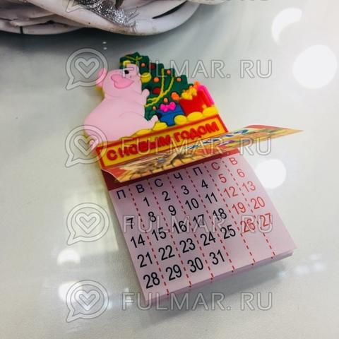 Магнит-Календарик отрывной Поросёнок у Ёлки