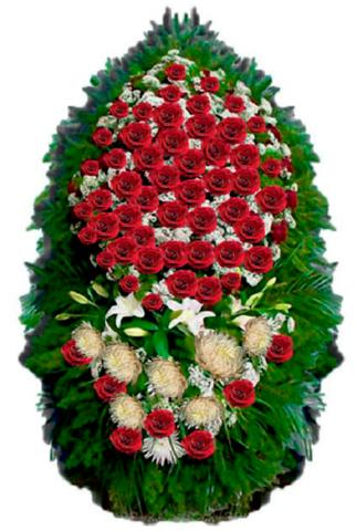 Траурный венок из живых цветов ВЖ 02