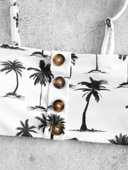 купальник раздельный бандо с лямками белый с пальмами 6